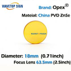 China PVD ZnSe CO2 Laser Focusing Lens Dia. 18 FL 63.5mm 2.5inch Cutting Engraving Machine Accessories Carving Parts