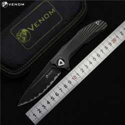 KEVIN JOHN VENOM 3 new concept Flipper folding knife S35vn blade TC4 Titanium outdoor camping survival fruit knife EDC tools