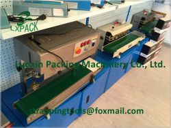 LX-PACK Lowest Factory Prices FRD-1000 Horizontal Continuous Heat Band Sealer,Plastic Film Heat Sealing Mahcine With Date Coding