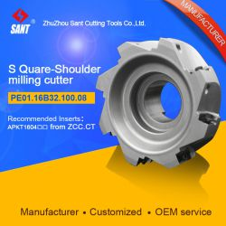 Zhuzhou Sant Indexable milling cutter with 90degree EMP02-100-B32-AP16-08/PE01.16B32.100.08 Mached carbide insert APKT160408